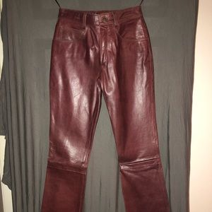 Burgundy colored leather pants. Wilson's
